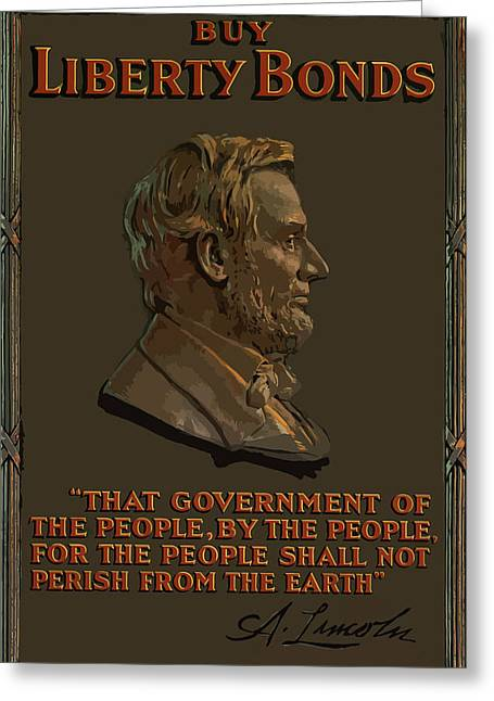War Propaganda Greeting Cards - Lincoln Gettysburg Address Quote Greeting Card by War Is Hell Store