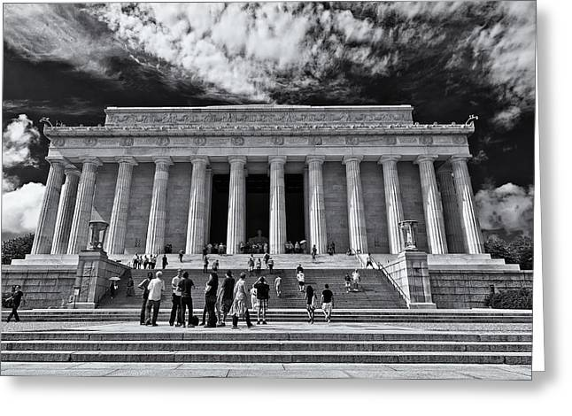 D.w Greeting Cards - Lincoln Memorial in Black and White Greeting Card by Lori Coleman
