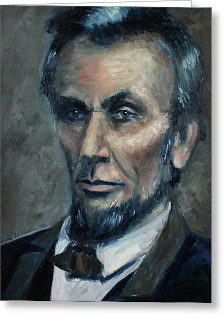 Abe Lincoln Paintings Greeting Cards - Lincoln Portrait #2 Greeting Card by Daniel W Green