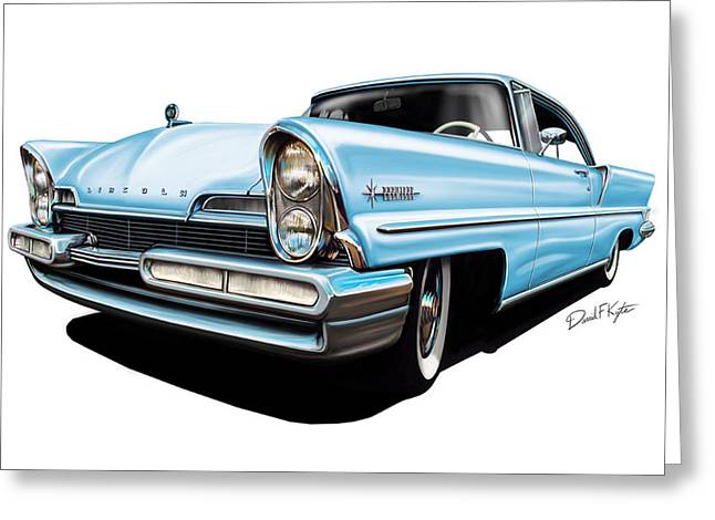 Premier Greeting Cards - Lincoln Premier in Baby Blue Greeting Card by David Kyte