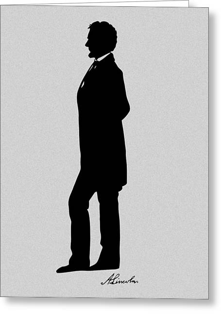 Rail Greeting Cards - Lincoln Silhouette and Signature Greeting Card by War Is Hell Store