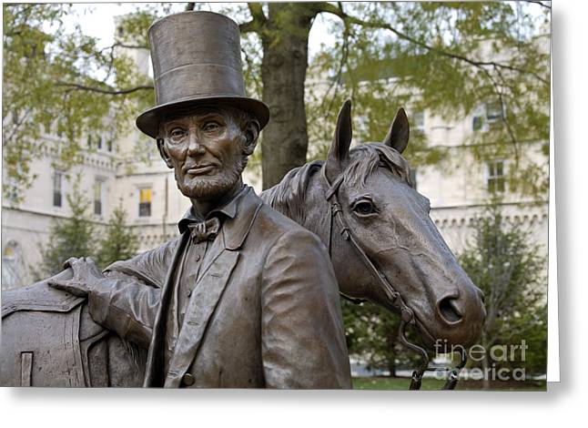 Statue Portrait Greeting Cards - Lincoln Statue, 2008 Greeting Card by Granger