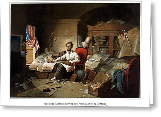 Abraham Paintings Greeting Cards - Lincoln Writing The Emancipation Proclamation Greeting Card by War Is Hell Store