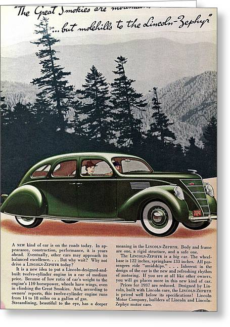 Lincoln Drawings Greeting Cards - Lincoln Zephyr 1936 Greeting Card by Nomad Art And  Design