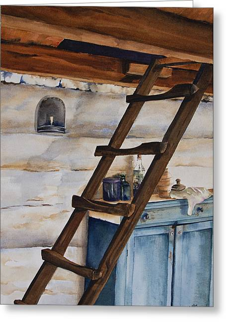 Log Cabin Interiors Greeting Cards - Lincolns Ladder Greeting Card by Amy Caltry