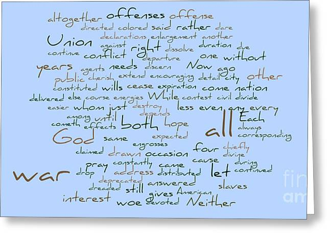 Word Cloud Greeting Cards - Lincolns Second Inagural-Word Cloud Greeting Card by David Bearden