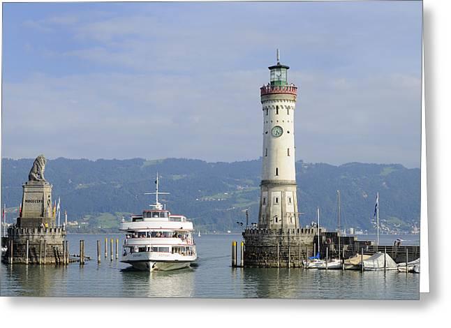 Lindau harbor with ship Bavaria Germany Greeting Card by Matthias Hauser