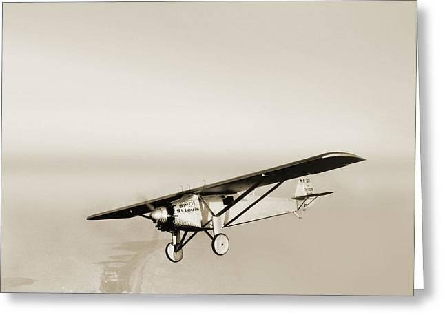 One Spirit Greeting Cards - Lindberghs Spirit Of St Louis Airplane Greeting Card by Detlev Van Ravenswaay