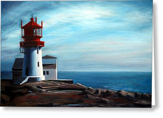 Norwegian Sunset Greeting Cards - Lindesnes Lighthouse Greeting Card by Janet King