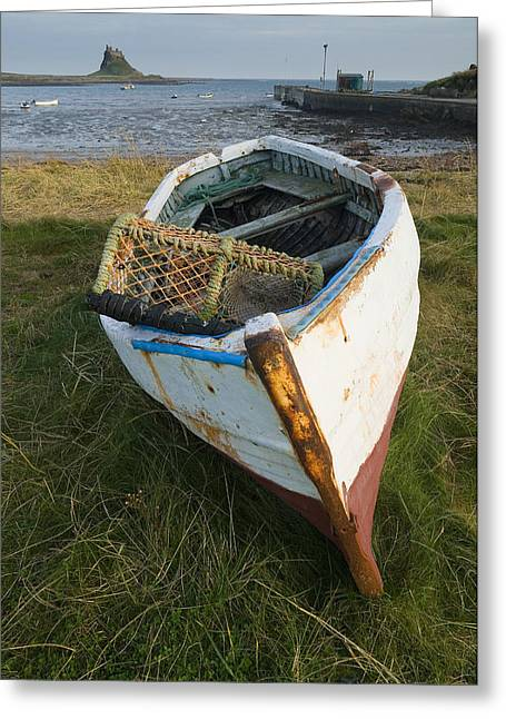 """""""crab Nets"""" Greeting Cards - Lindisfarne fishing boat Greeting Card by Stephen  Wakefield"""