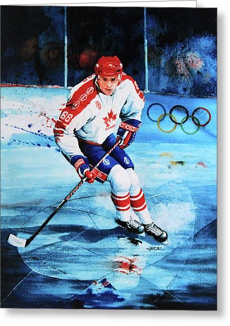 Hockey Paintings Greeting Cards - Lindros Greeting Card by Hanne Lore Koehler