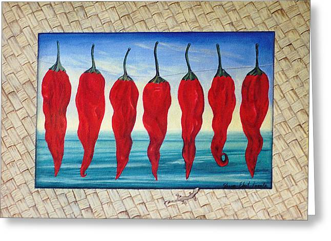 Sharon Ebert Greeting Cards - Line of Fire Greeting Card by Sharon Ebert