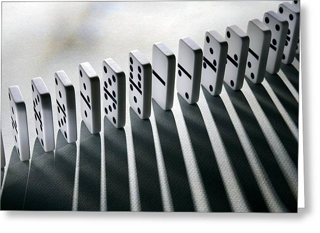 Cause And Effect Greeting Cards - Lined Up Dominoes Greeting Card by Victor De Schwanberg