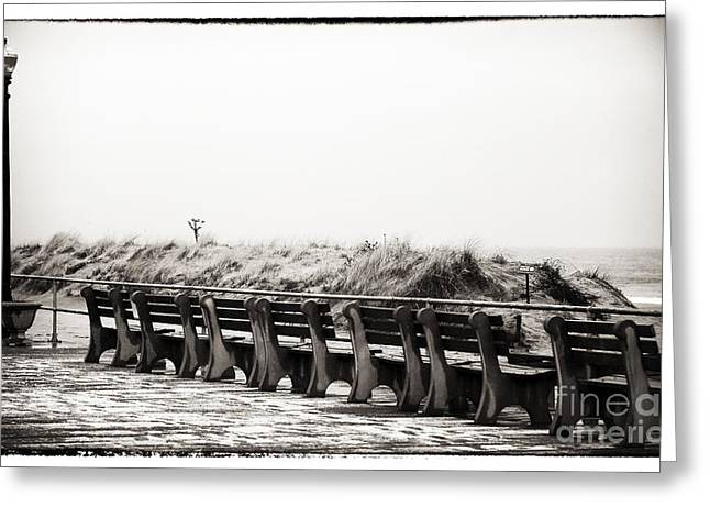 Snow. Ocean Greeting Cards - Lined Up in Ocean Grove Greeting Card by John Rizzuto