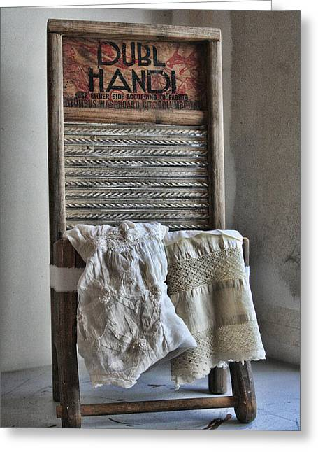 Washing Machine Greeting Cards - Linen and Lace Greeting Card by Marcie  Adams