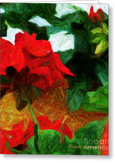 Red Geraniums Digital Greeting Cards - Lines of Red Greeting Card by Steven Lebron Langston