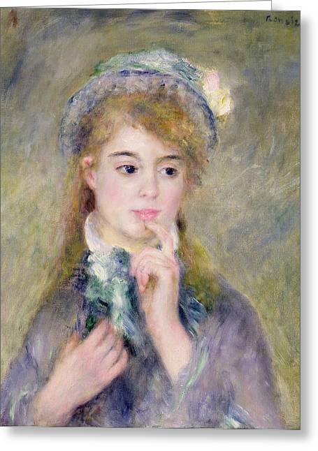 Pensive Greeting Cards - LIngenue Greeting Card by Pierre Auguste Renoir