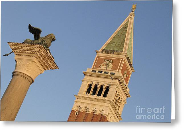 Saint Marc Greeting Cards - Lion and campanile. Venice Greeting Card by Bernard Jaubert
