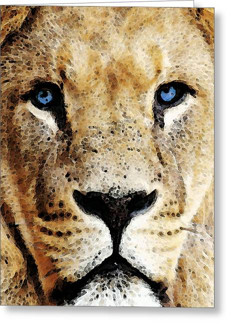 Nfl Games Greeting Cards - Lion Art - Blue Eyed King Greeting Card by Sharon Cummings