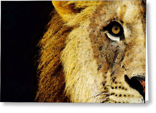Lion Art - Face Off Greeting Card by Sharon Cummings