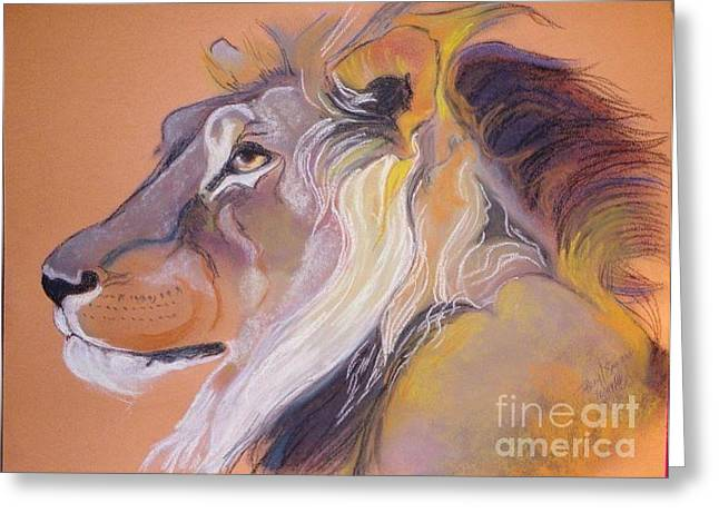 Adult Pastels Greeting Cards - Lion Greeting Card by Beryl Stewart