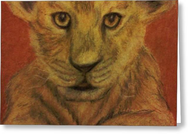 Lion Cub Greeting Card by Christy Brammer