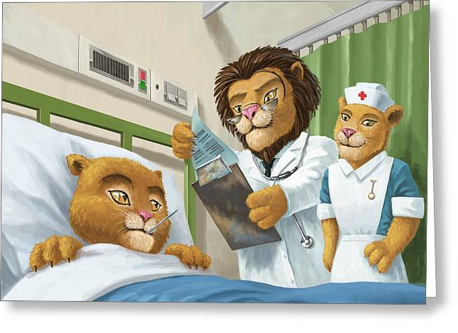 Lion Illustrations Greeting Cards - Lion Cub In Hospital Greeting Card by Martin Davey