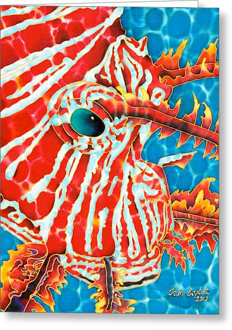 Pacific Tapestries - Textiles Greeting Cards - Lion Fish Face Greeting Card by Daniel Jean-Baptiste