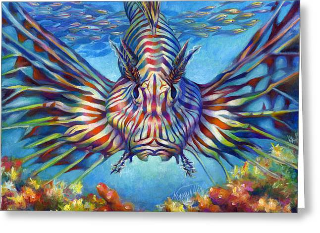 Sea Lions Paintings Greeting Cards - Lion Fish Greeting Card by Nancy Tilles