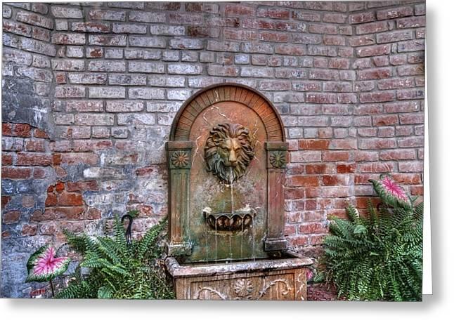 Lion Fountain Greeting Card by Merja Waters