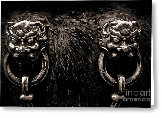 Old Beijing Greeting Cards - Lion Head Handle Greeting Card by Venetta Archer