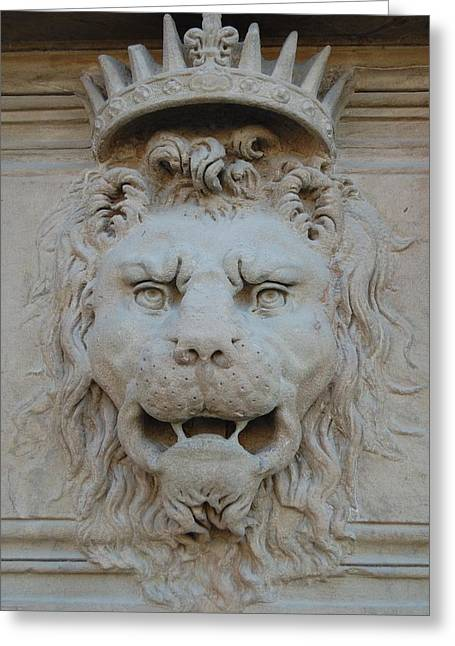 Gargoyle Lion Greeting Cards - Lion King II Pitti Palace Florence Italy Greeting Card by Sharon Blanchard