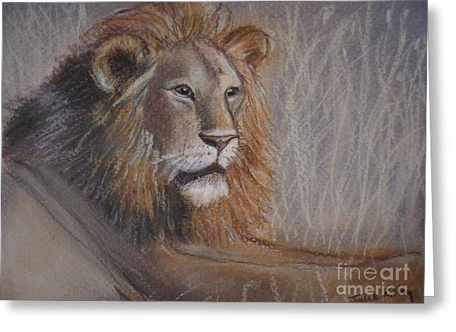 Leaders Pastels Greeting Cards - Lion King Greeting Card by Julie Brugh Riffey