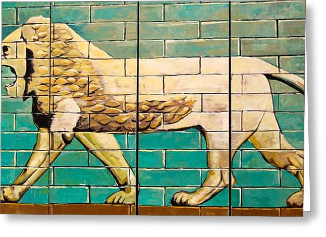 Iraq Conflict Greeting Cards - Lion of Babylon Greeting Card by Unknown - Local Iraqi National