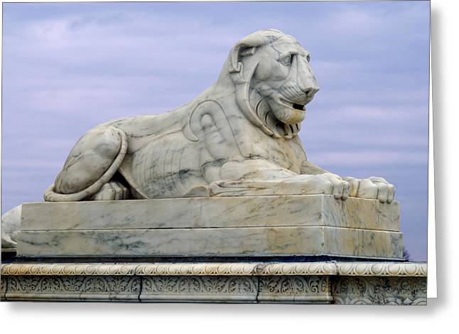 Belle Isle Greeting Cards - Lion of Scotts Fountain Greeting Card by Michael Peychich