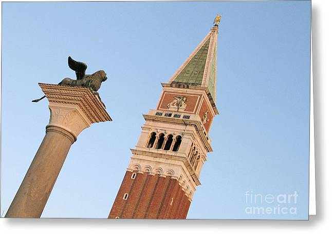 Campanile Greeting Cards - Lion of Venice Greeting Card by Bernard Jaubert