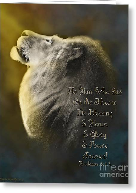 Christian Art Prints. Christian Canvas Greeting Cards - Lion On The Throne in Aqua Greeting Card by Constance Woods