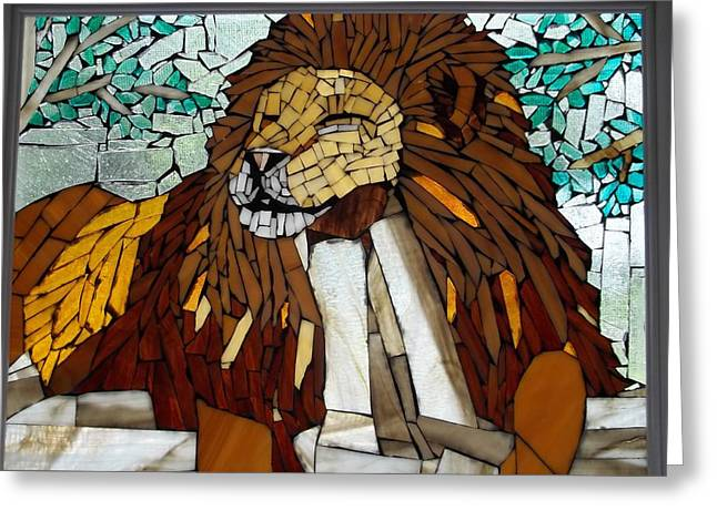 Lions Glass Art Greeting Cards - Lion Greeting Card by Susan Begin