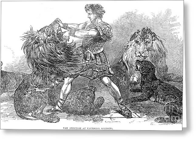 Lion Tamer, 1848 Greeting Card by Granger