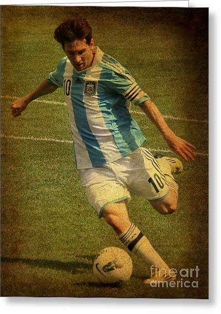 Lionel Messi Kicking Greeting Cards - Lionel Andres Messi Argentine Footballer FC Barcelona  Greeting Card by Lee Dos Santos