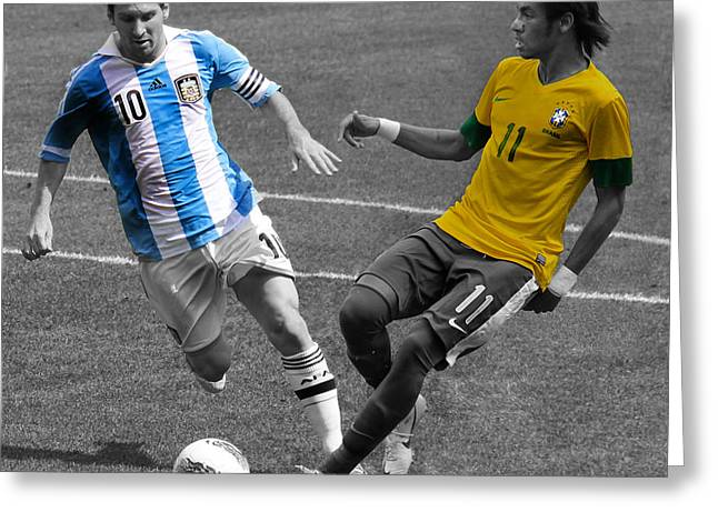 Lionel Messi and Neymar Clash of the Titans at Metlife Stadium  Greeting Card by Lee Dos Santos