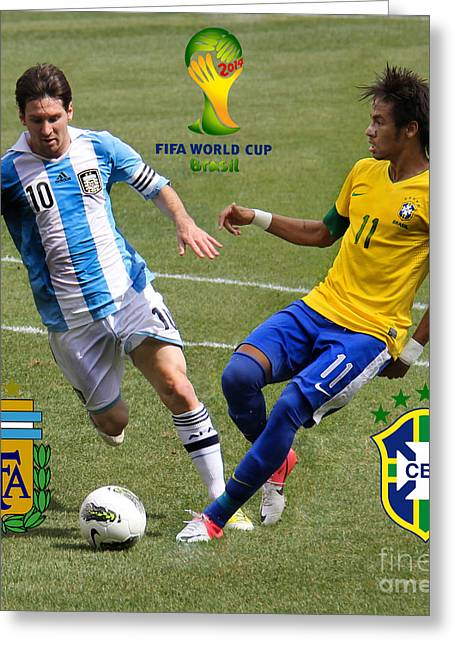 Clash Of Worlds Greeting Cards - Lionel Messi and Neymar Clash of the Titans Fifa World Cup 2014 and Team Logos Greeting Card by Lee Dos Santos