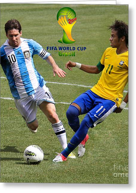 Clash Of Worlds Greeting Cards - Lionel Messi and Neymar Clash of the Titans Fifa World Cup 2014 II Greeting Card by Lee Dos Santos