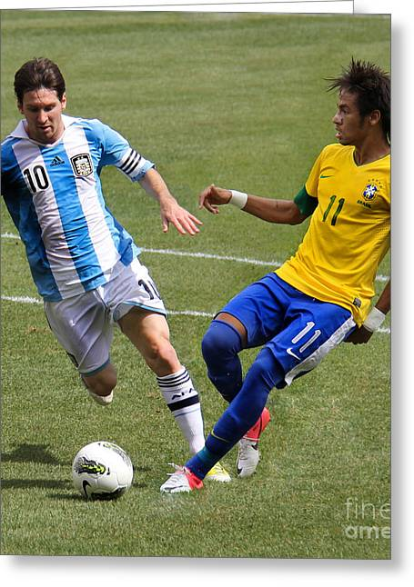 Clash Of Worlds Greeting Cards - Lionel Messi and Neymar Clash of the Titans Metlife Stadium  Greeting Card by Lee Dos Santos