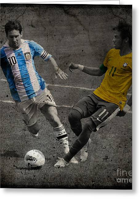 Clash Of Worlds Greeting Cards - Lionel Messi and Neymar Clash of the Titans VII Greeting Card by Lee Dos Santos
