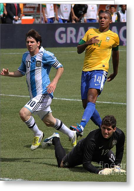 Lionel Messi Kicking Greeting Cards - Lionel Messi Beats Rafael Cabral Greeting Card by Lee Dos Santos