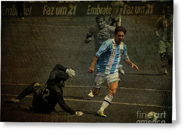 Lionel Messi Kicking Greeting Cards - Lionel Messi Breaking Raphael Cabrals Ankles  Greeting Card by Lee Dos Santos