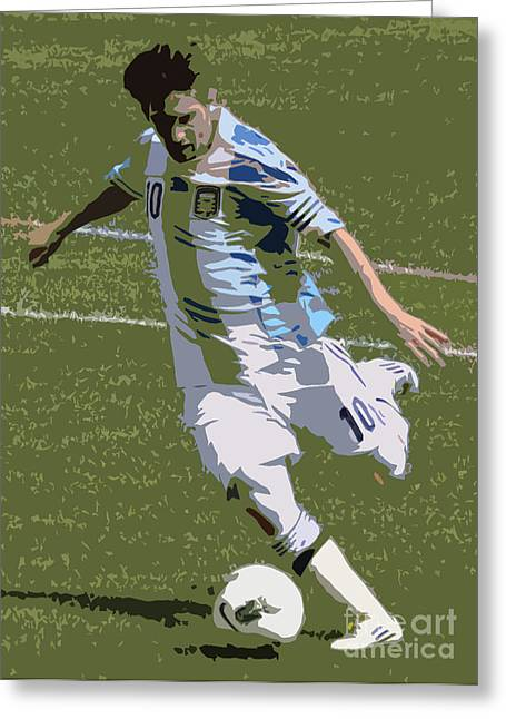 Clash Of Worlds Greeting Cards - Lionel Messi Kicking II Greeting Card by Lee Dos Santos