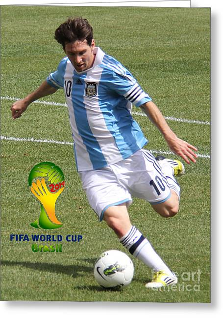 Clash Of Worlds Greeting Cards - Lionel Messi Kicking V FIFA World Cup 2014 Greeting Card by Lee Dos Santos