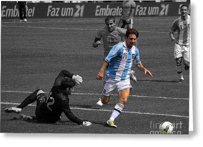 Goliath Greeting Cards - Lionel Messi the King Greeting Card by Lee Dos Santos